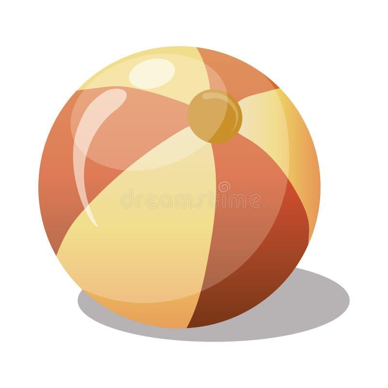 Beeldverhaal gele bal Stuk speelgoed rubberbal voor kinderen Kleurenillustratie voor jonge geitjes royalty-vrije illustratie