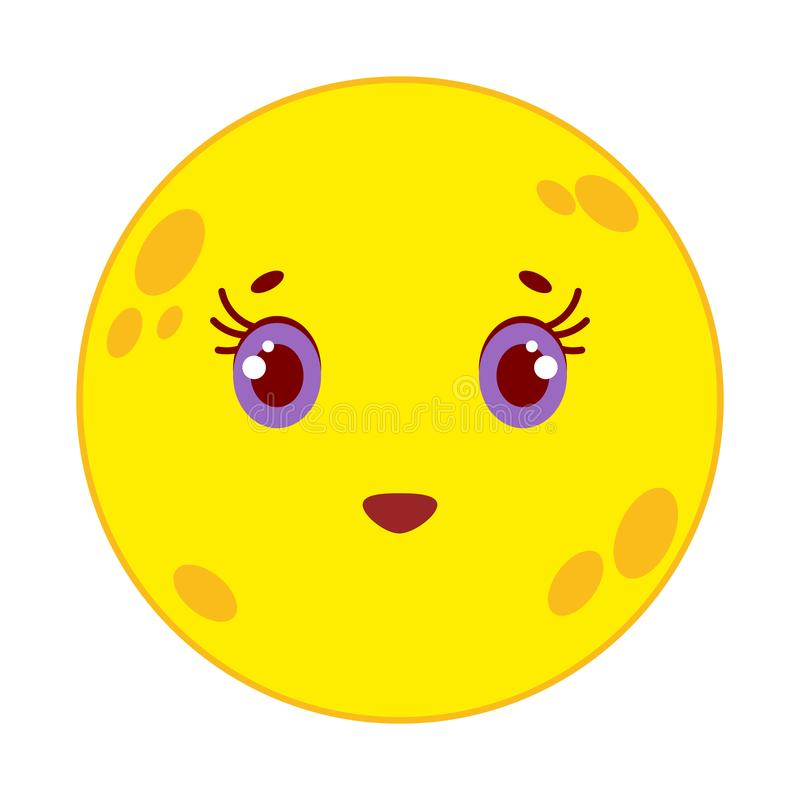 Beeldverhaal gele maan die op witte achtergrond glimlachen vector illustratie