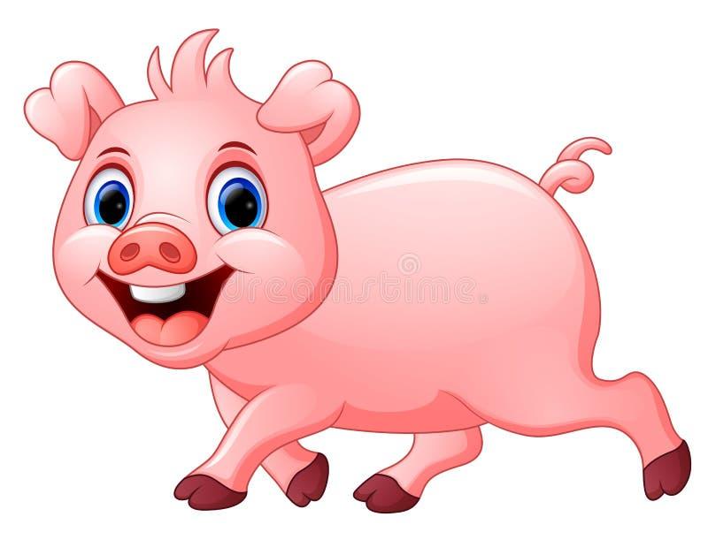 Beeldverhaal gelukkig die varken op witte achtergrond wordt geïsoleerd stock illustratie