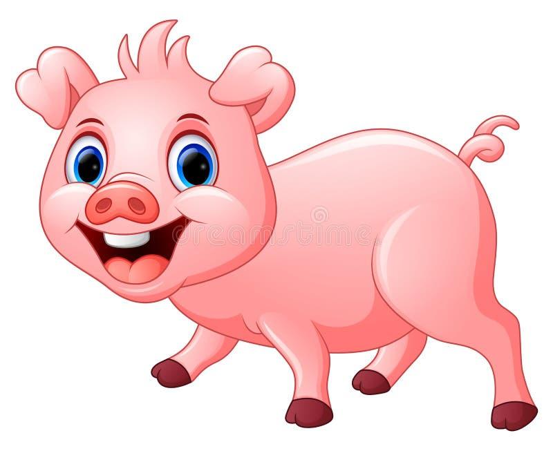 Beeldverhaal gelukkig die varken op witte achtergrond wordt geïsoleerd royalty-vrije illustratie