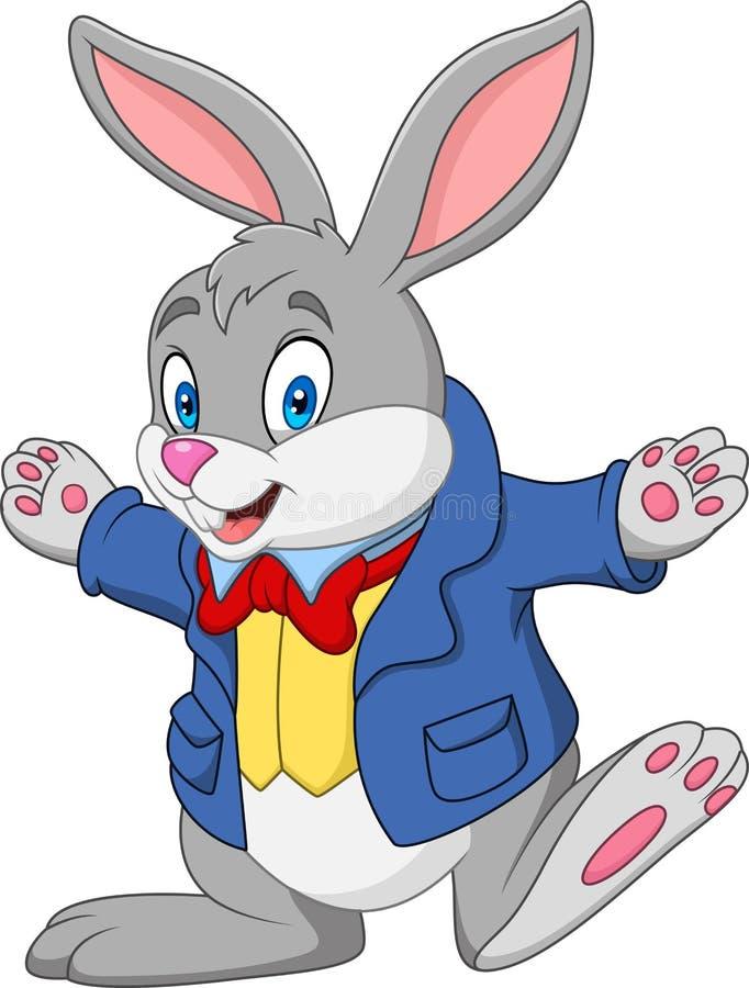 beeldverhaal gelukkig konijn stock illustratie