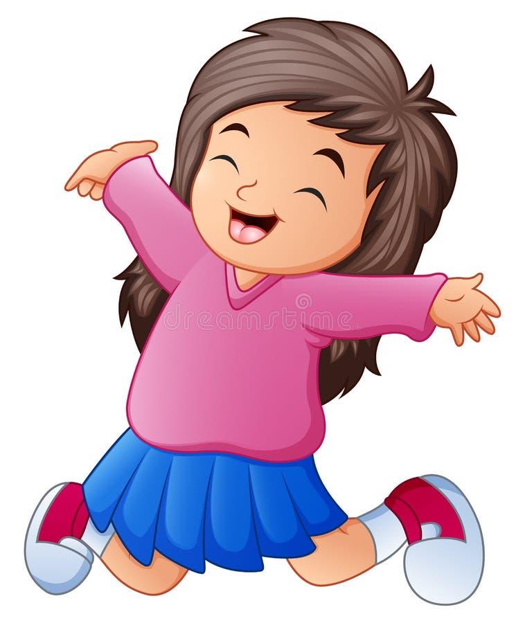 Beeldverhaal gelukkig meisje die haar handen opheffen royalty-vrije illustratie