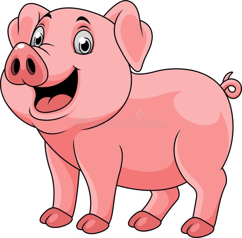 beeldverhaal gelukkig varken stock illustratie
