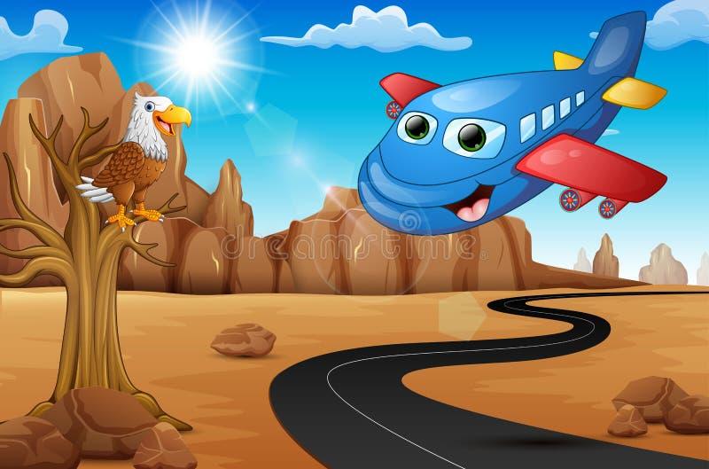 Beeldverhaal gelukkig vliegtuig met adelaar op boom en Lege weg in de woestijn royalty-vrije illustratie