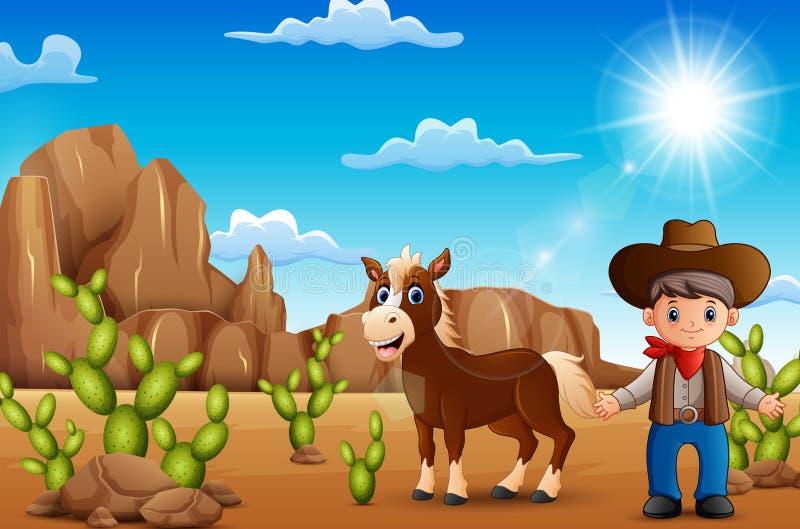 Beeldverhaal gelukkige cowboy met paard in de woestijn royalty-vrije illustratie