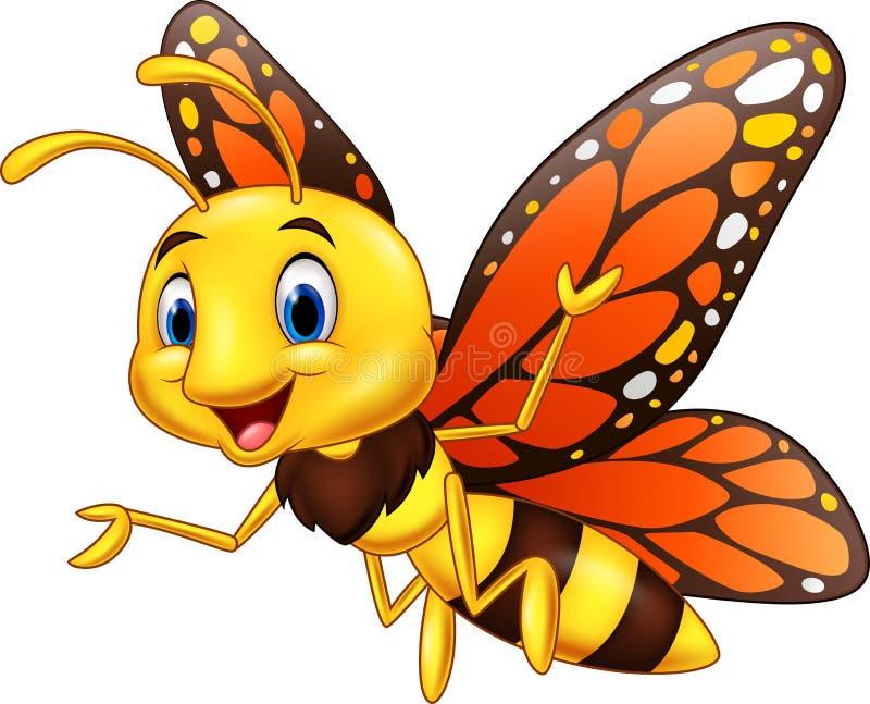Beeldverhaal gelukkige die vlinder op witte achtergrond wordt geïsoleerd royalty-vrije illustratie