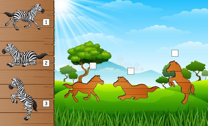 Beeldverhaal gelukkige gestreepte inzamelingen Vind de correcte schaduw Onderwijsspel voor kinderen stock illustratie
