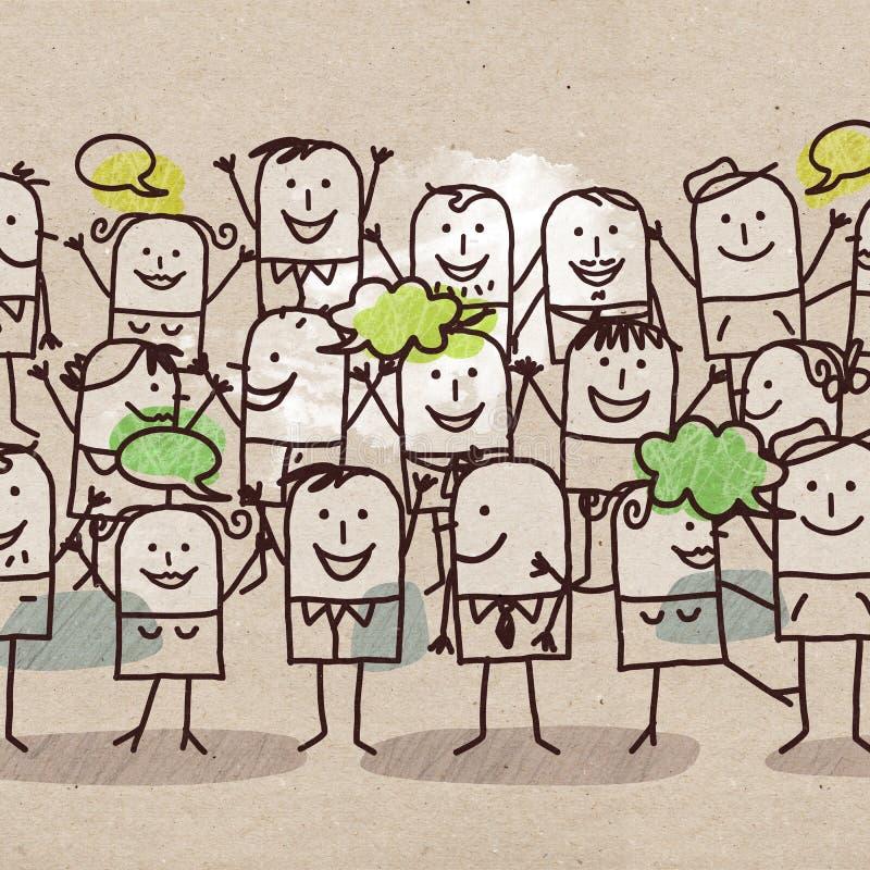 Beeldverhaal Gelukkige Groep Mensen vector illustratie