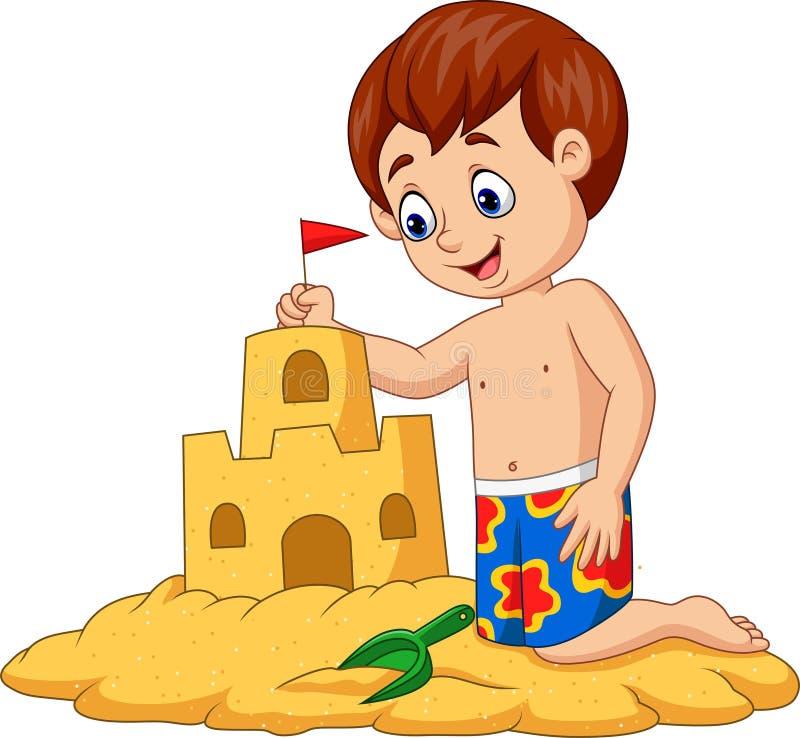 Beeldverhaal gelukkige jongen die zandkasteel maken vector illustratie