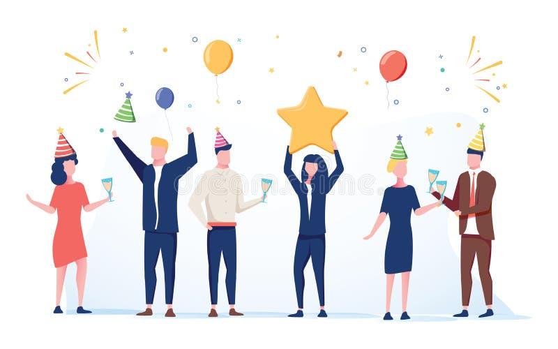 Beeldverhaal gelukkige kleine mensen Leuke miniatuurscène van arbeiders die voor viering voorbereidingen treffen Moderne beeldver royalty-vrije illustratie