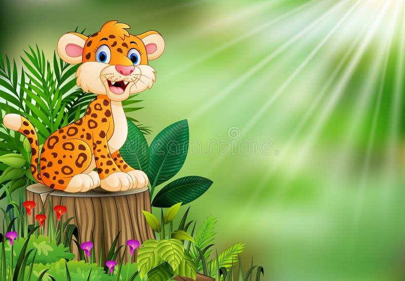 Beeldverhaal gelukkige luipaard op boomstomp met groene installaties royalty-vrije illustratie