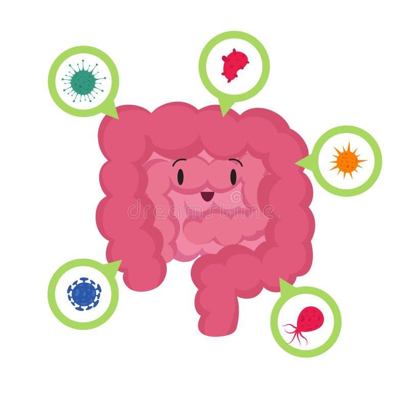 Beeldverhaal gelukkige menselijke darm met het goede microscopische vectorconcept van bacterias medische probiotics stock illustratie