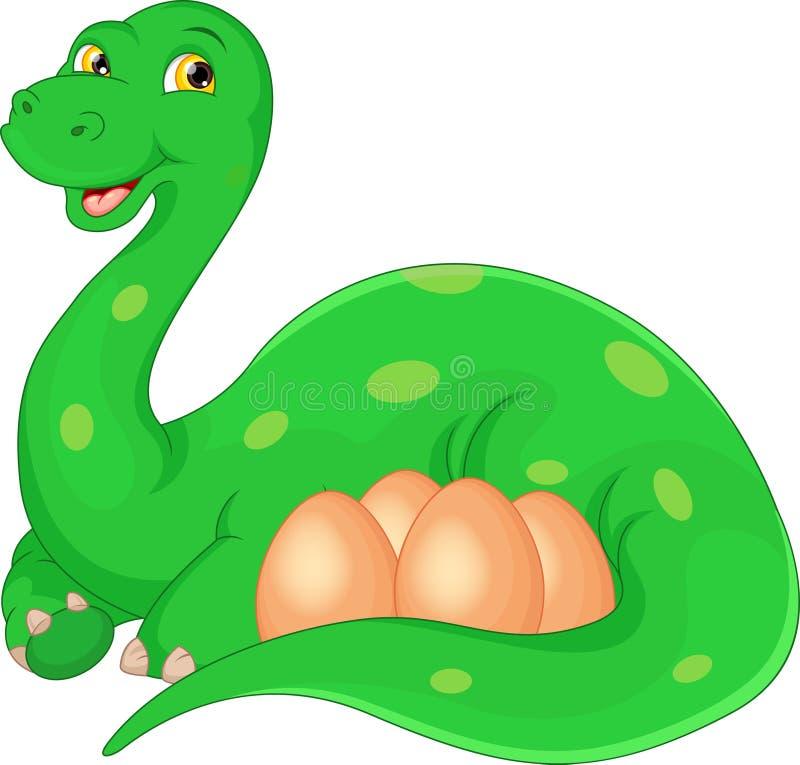 Beeldverhaal gelukkige Moeder en eierendinosaurus vector illustratie