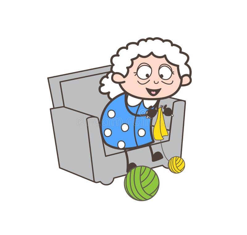 Beeldverhaal Gelukkige Oude Dame Making Design met Wollen Vectorillustratie vector illustratie