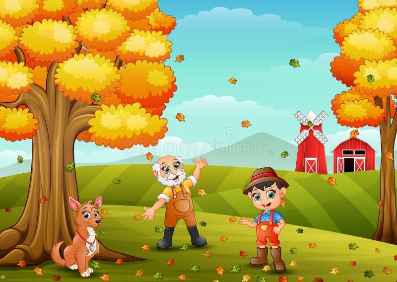 Beeldverhaal gelukkige oude landbouwer en weinig landbouwer met zijn hond in boerenerf vector illustratie
