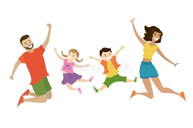 Beeldverhaal gelukkige springende familie, leuke glimlachende mensen, vector illustratie