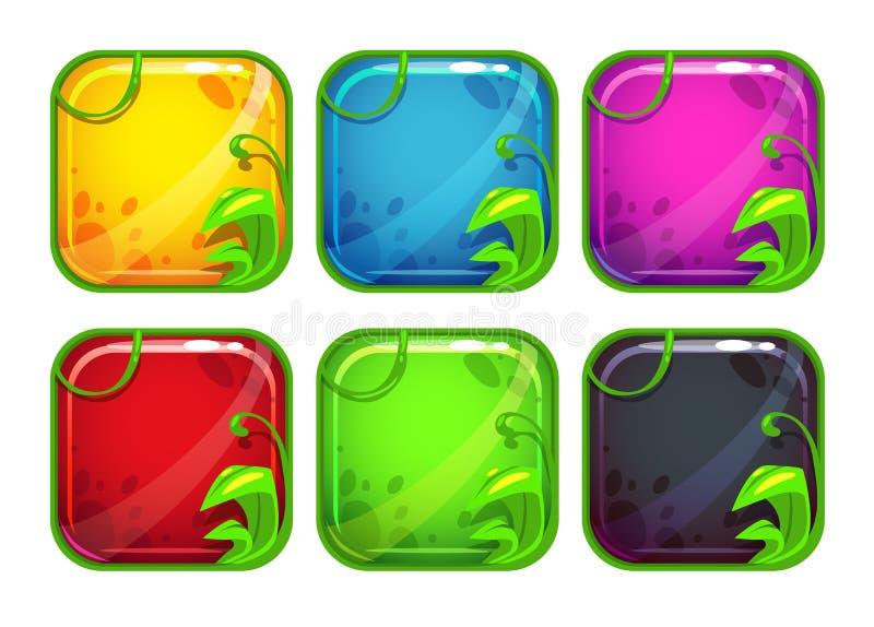 Beeldverhaal gestileerde app pictogrammen met aardelementen vector illustratie