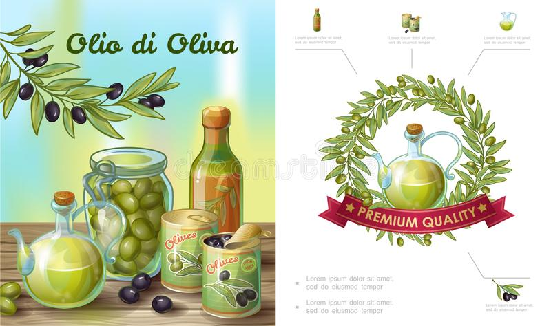 Beeldverhaal Gezonde Olive Composition vector illustratie