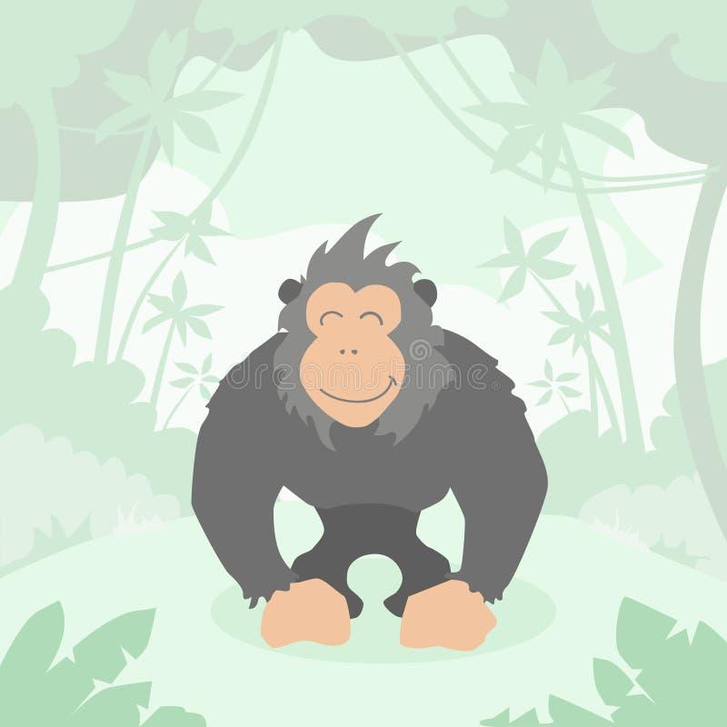 Beeldverhaal Gorilla Green Jungle Forest Colorful stock illustratie