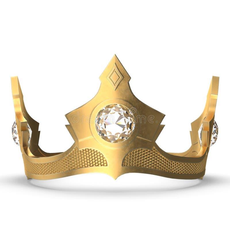 Beeldverhaal gouden kroon met drie diamanten royalty-vrije illustratie