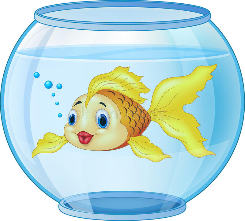 Beeldverhaal gouden vissen in het aquarium stock illustratie