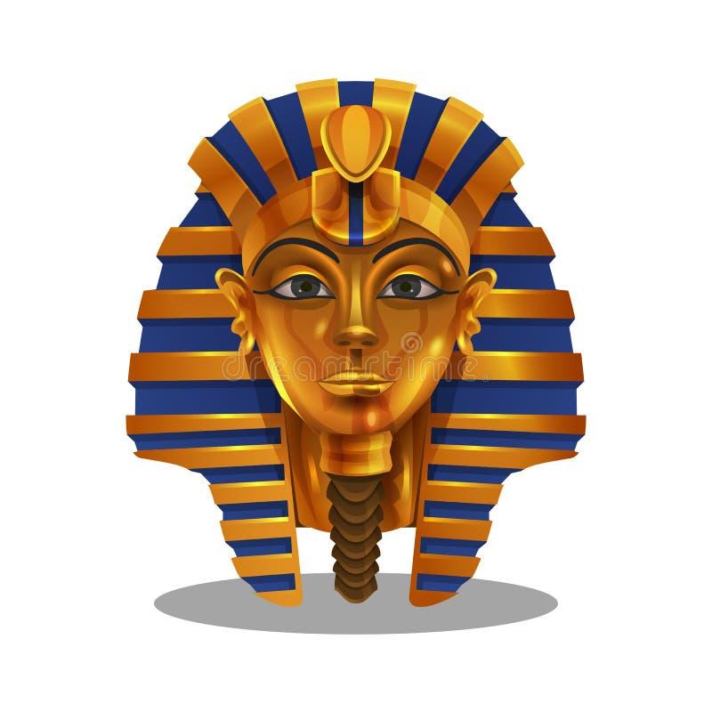 Beeldverhaal gouden voltooiing, Egyptisch die pharoahbeeldje op witte achtergrond wordt geïsoleerd royalty-vrije illustratie