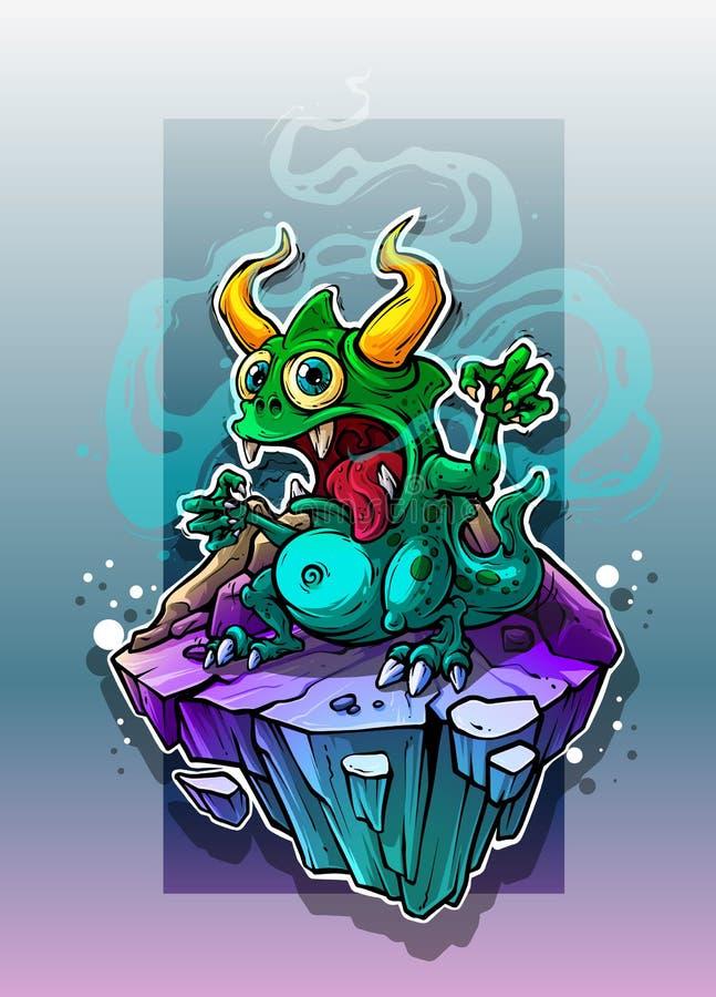 Beeldverhaal grappig blauw monster op steenrots stock illustratie