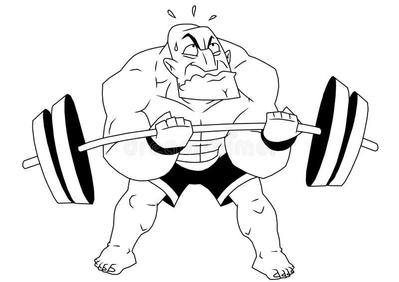 Beeldverhaal grappige bodybuilder royalty-vrije illustratie