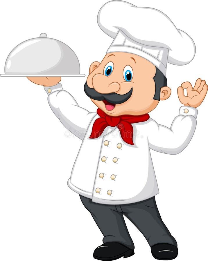 Beeldverhaal grappige chef-kok met een snor die een zilveren schotel houden stock illustratie