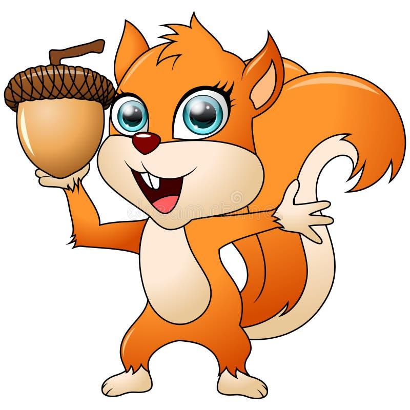 Beeldverhaal grappige die eekhoorn op witte achtergrond wordt geïsoleerd vector illustratie