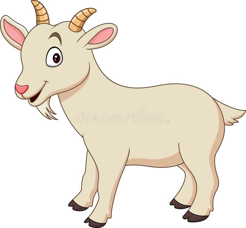 Beeldverhaal grappige die geit op witte achtergrond wordt geïsoleerd royalty-vrije illustratie