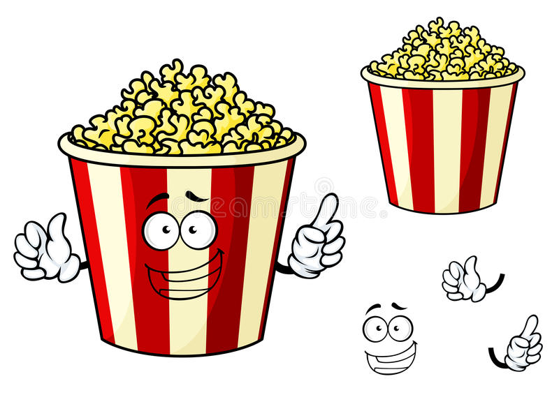 Beeldverhaal grappige gestreepte doos popcorn royalty-vrije illustratie