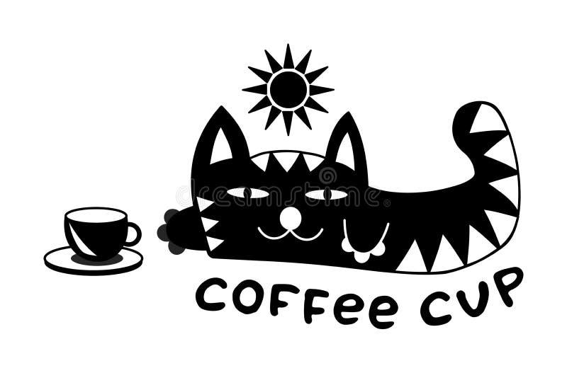 Beeldverhaal grappige het liggen kat onder de zon Met een kop van koffie en de inschrijving - koffiekop Rebecca 36 stock illustratie