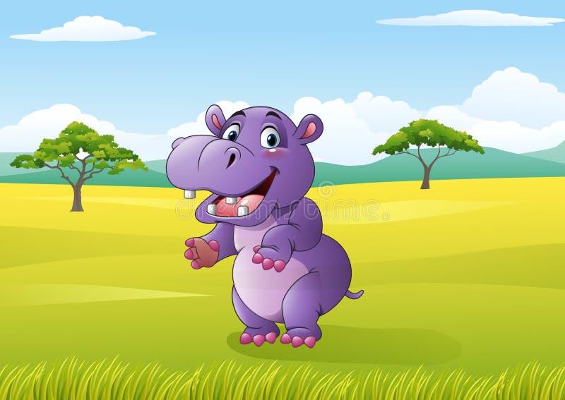 Beeldverhaal grappige hippo in de wildernis royalty-vrije illustratie
