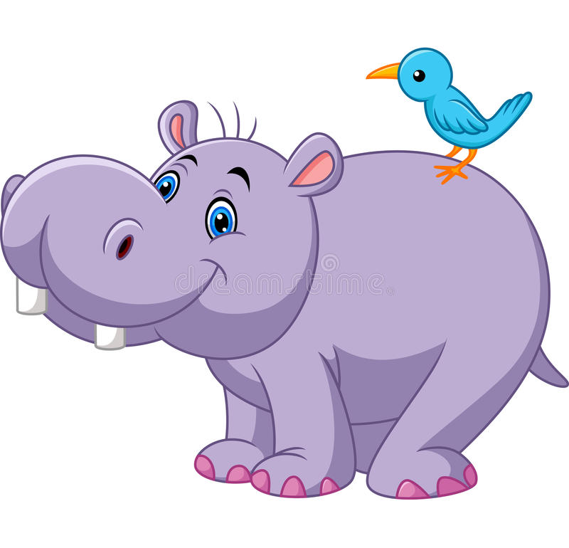 Beeldverhaal grappige hippo met vogel stock illustratie