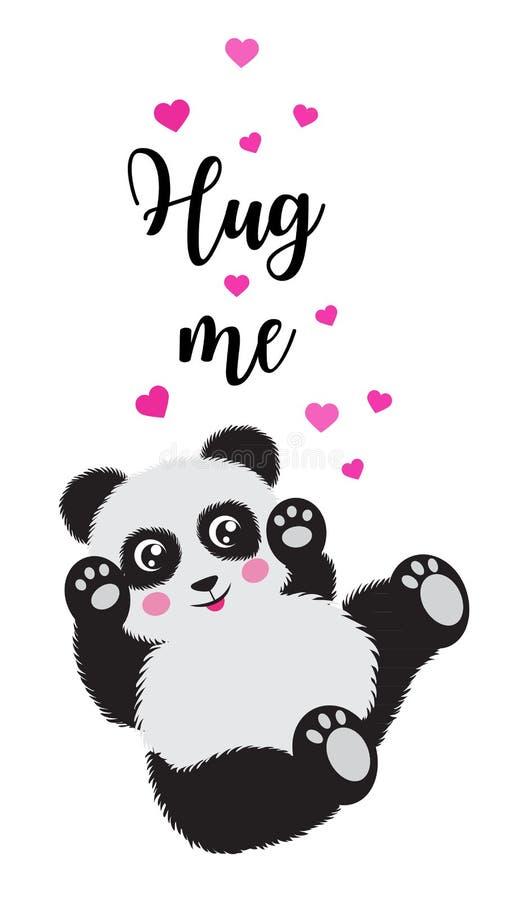 Beeldverhaal grappige leuk weinig panda koester me beeld voor valentijnskaartendag EPS10 royalty-vrije illustratie