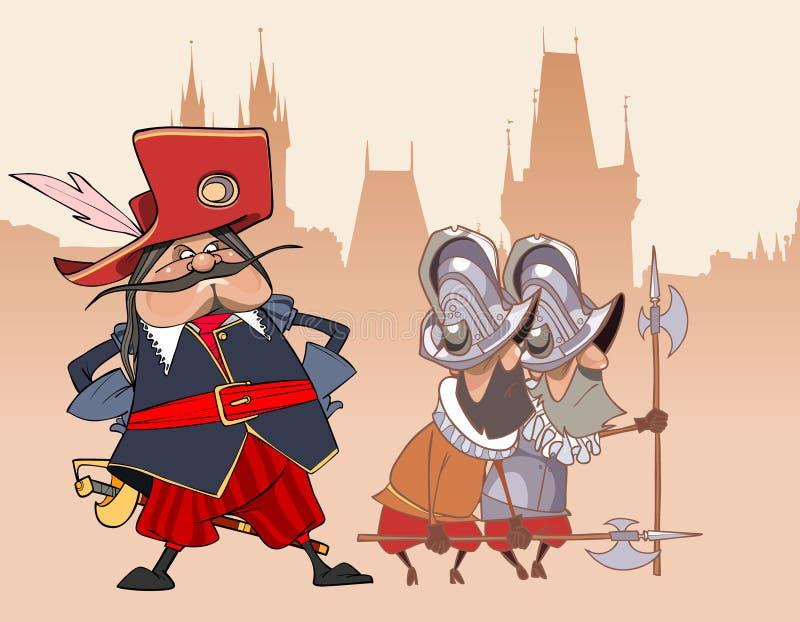 Beeldverhaal grappige militair de Musketier en de wachten royalty-vrije illustratie