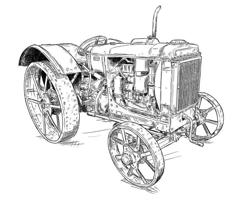 Beeldverhaal of Grappige Stijltekening van Oude of Uitstekende Tractor vector illustratie