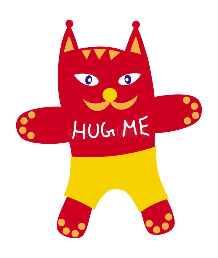 Beeldverhaal grappige symbolische kat in borrels en met de woorden - koester me stock illustratie