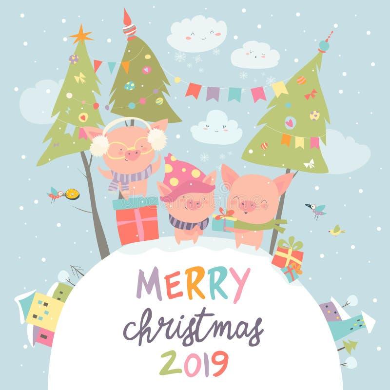 Beeldverhaal grappige varkens met giften Kerstman Klaus, hemel, vorst, zak royalty-vrije illustratie