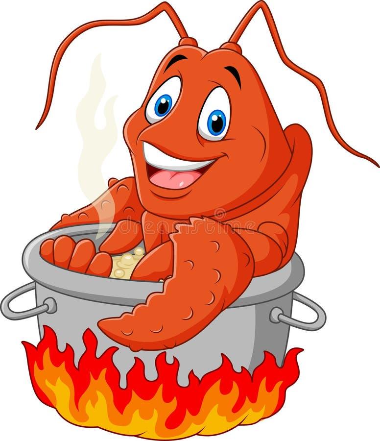 Beeldverhaal grappige zeekreeft die in een pan worden gekookt vector illustratie