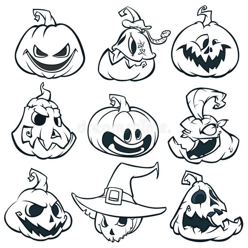Beeldverhaal griezelige Jack O ` Lantaarnpompoenen geplaatst geschetst De vectorillustratie van Halloween royalty-vrije illustratie