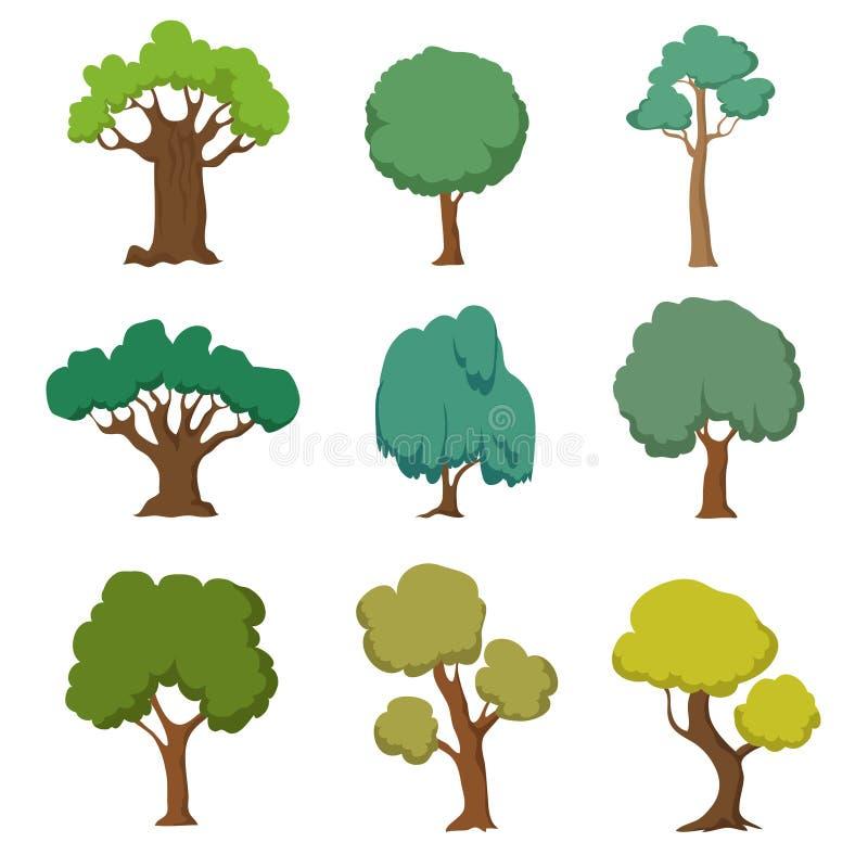 Beeldverhaal groene bomen Leuke aard bosinstallatie en struiken vectordiereeks op witte achtergrond wordt geïsoleerd royalty-vrije illustratie