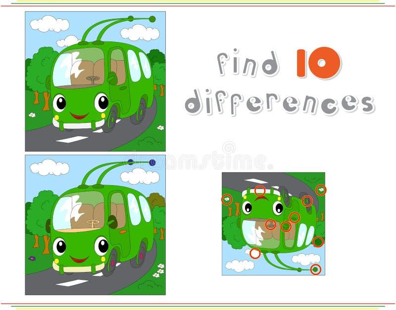 Beeldverhaal groene trolleybus Onderwijsspel voor jonge geitjes: vind tien Di vector illustratie