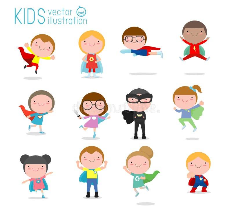 Beeldverhaal grote reeks van Jong geitje Superheroes die strippaginakostuums, Jonge geitjes met Superhero-geplaatste Kostuums dra royalty-vrije illustratie