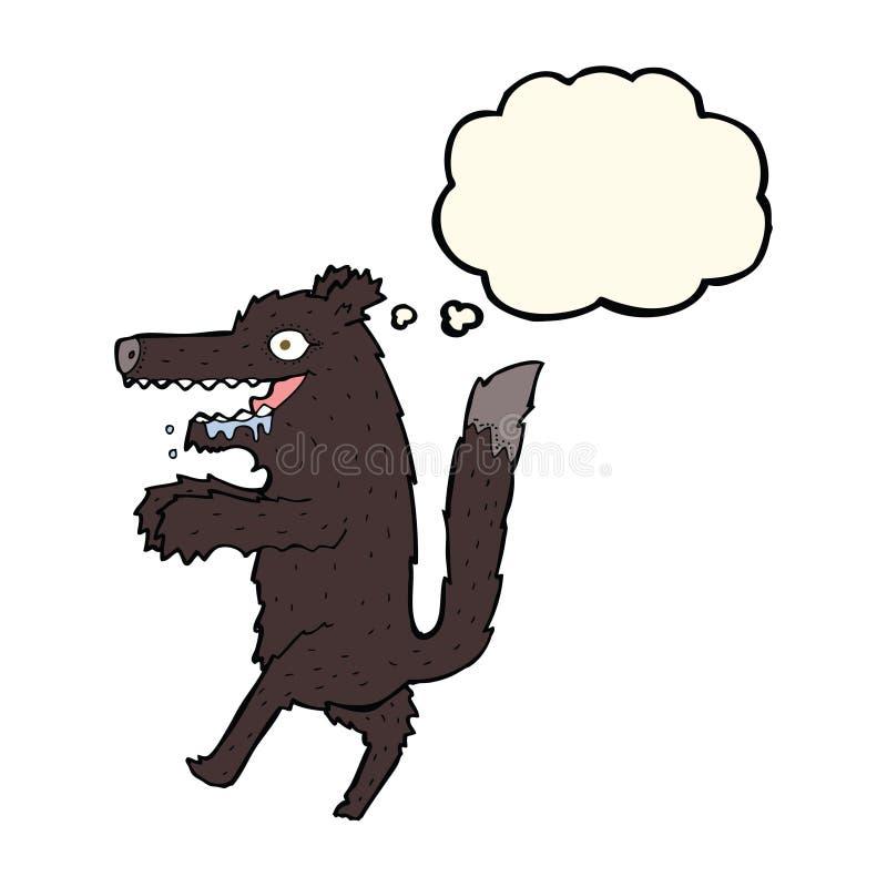 beeldverhaal grote slechte wolf met gedachte bel vector illustratie
