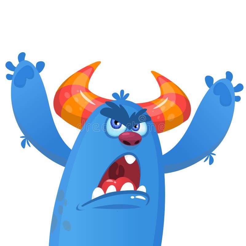 Beeldverhaal het boze blauwe monster schreeuwen Vector illustratie met eenvoudige gradiënten stock illustratie