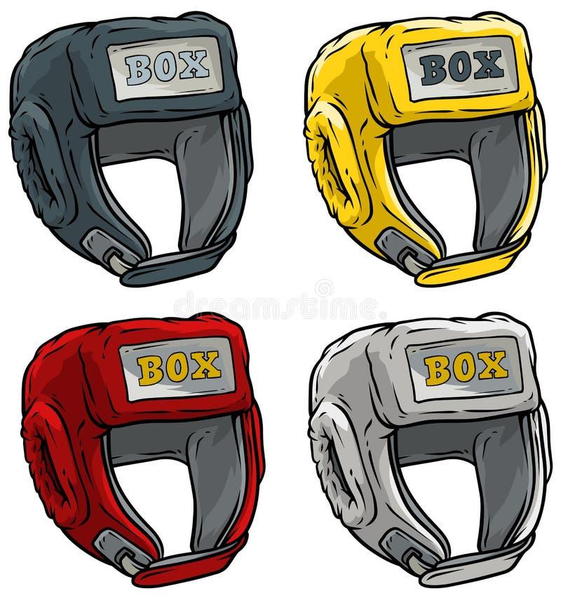 Beeldverhaal het in dozen doen vector het pictogramreeks van de sporthelm stock illustratie