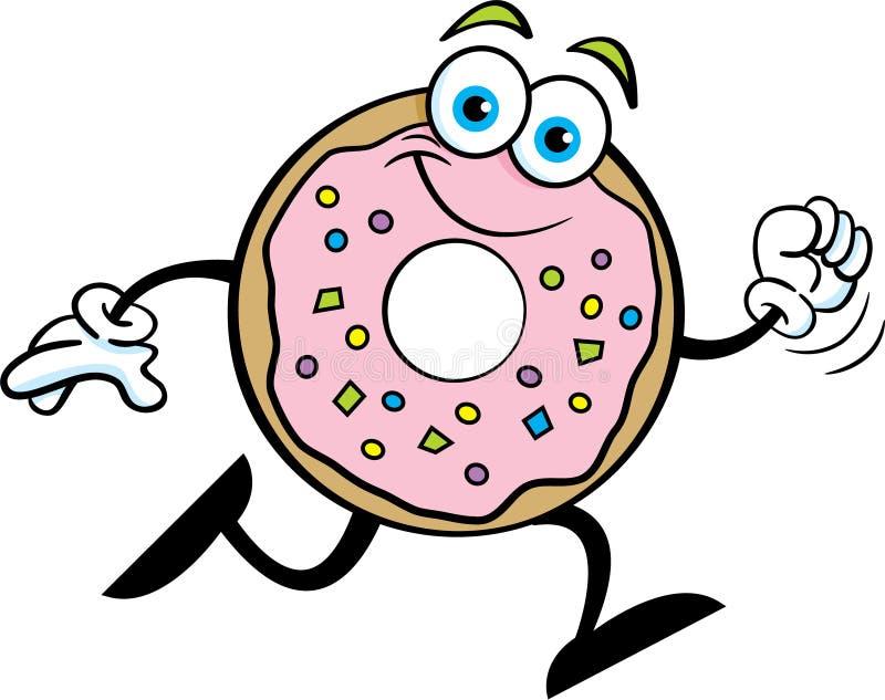 Beeldverhaal het gelukkige doughnut lopen royalty-vrije illustratie
