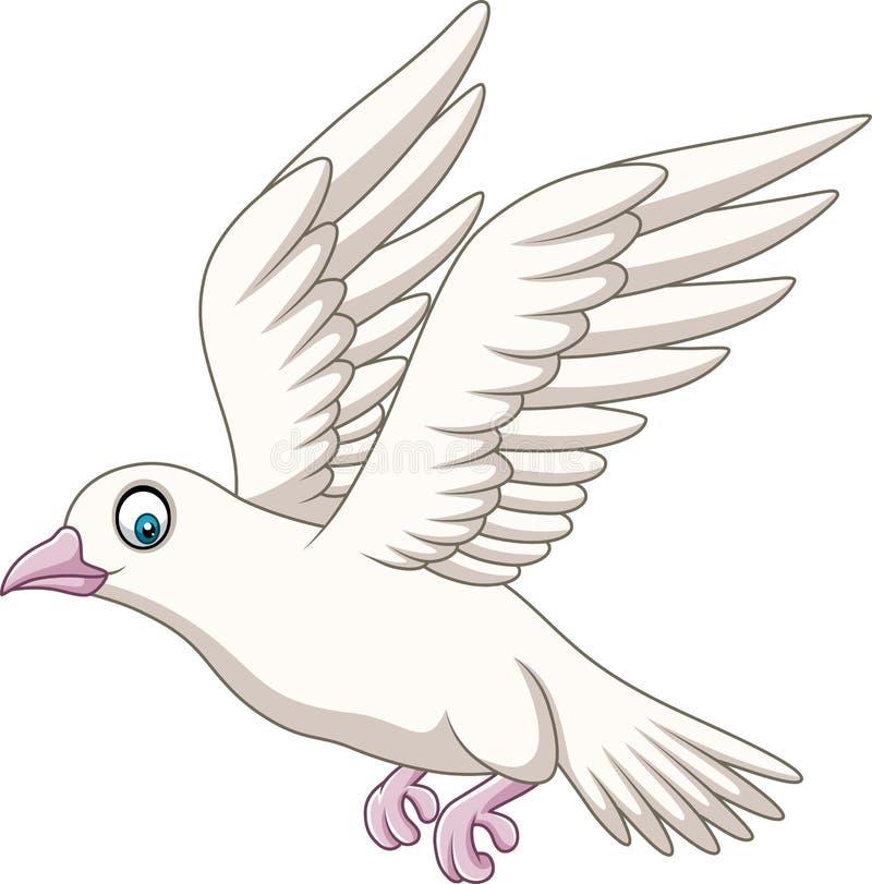 Beeldverhaal het gelukkige duif vliegen vector illustratie